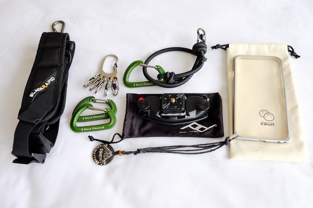 Black Rapid Metro Strap ,  Nite Ize BigFoot Locker Key Rack ,  Black Diamond Micron Carabiners ,  Peak Design Capture Camera Clip ,  eBun iPhone Strap Case