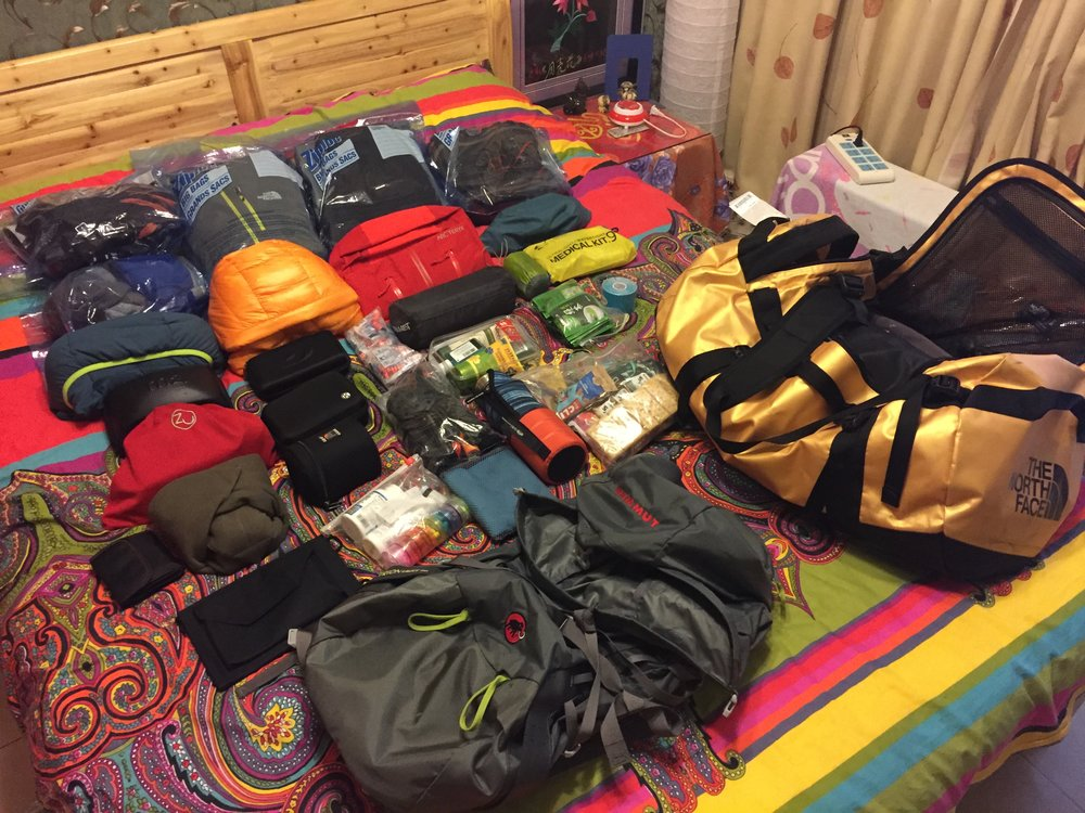 All my gear before flying into Kathmandu, from an Airbnb in Kunming, China