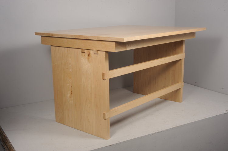 office desk wood. Maple Wood Office Desk With Dovetail Rails
