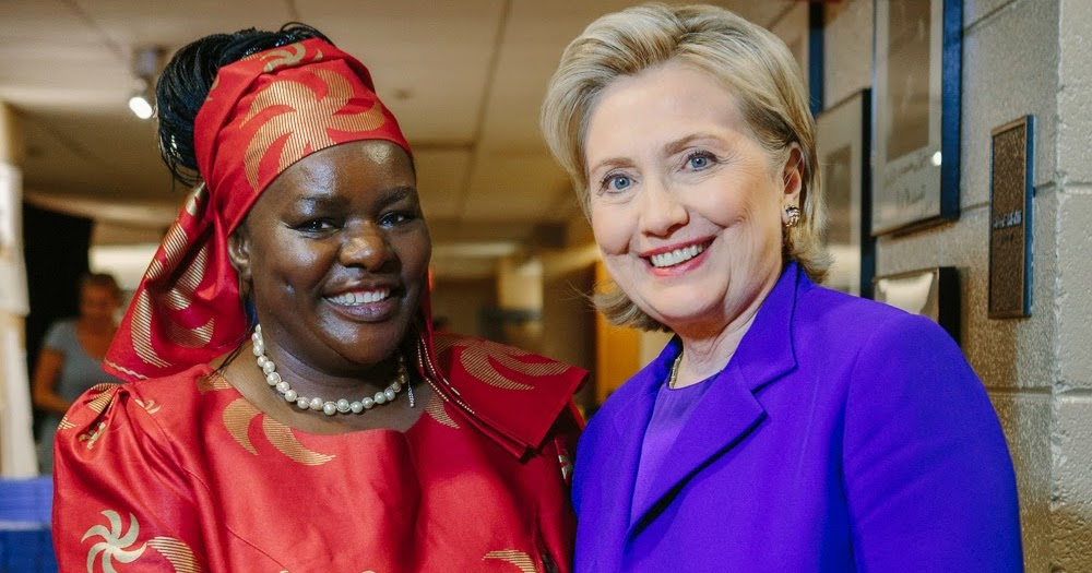 Dr. Victoria Kisyombe receiving the Vital Voices Global Leadership Award in Economic Empowerment from former US First Lady ,  Secretary of State and Presidential Candidate Hillary Rodham Clinton.