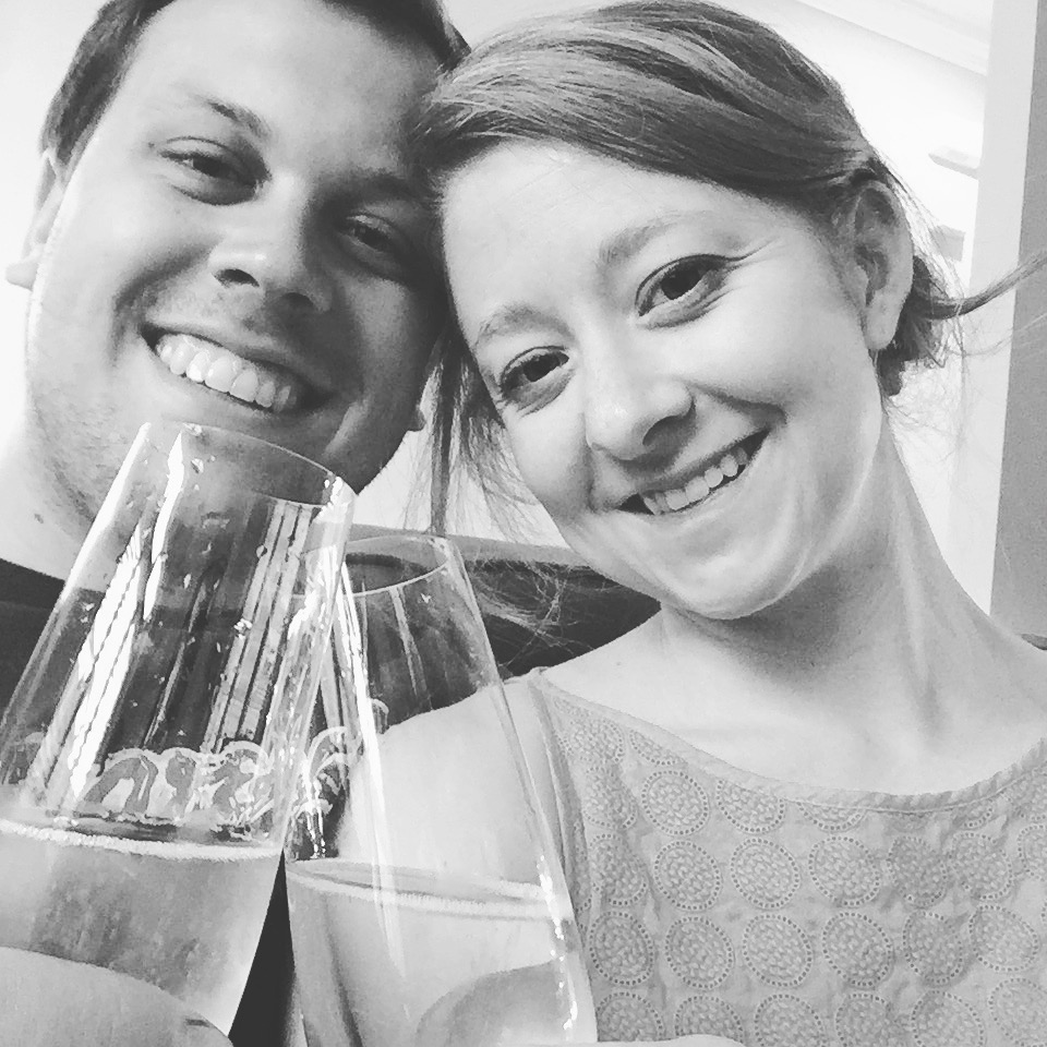 Cheersing after a long day of moving into our new home!