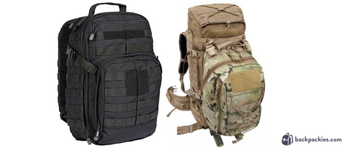 5.11 Rush24 Tactical backpack (left) and Tactical Tailor Flight Light tactical backpack (right)