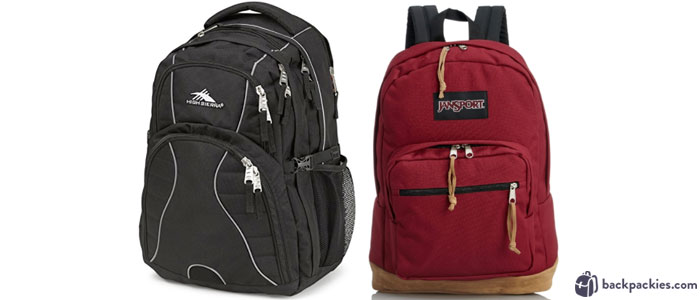 High Sierra Swerve student backpack (left) and Jansport Right Pack (right)