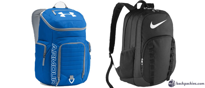 Under Armour Storm Undeniable backpack (left) and Nike Brasilia 7 XL backpack (right)