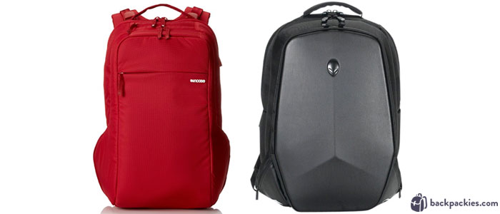 Incase Icon laptop backpack (left) and Alienware Vindicator gaming backpack (right)