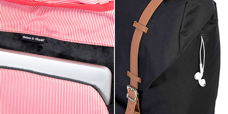 Both backpacks feature identical fleece lined laptop sleeves and internal media pockets with headphone ports.