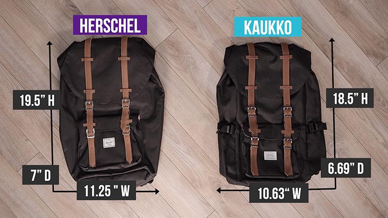 Herschel Little America vs Kaukko size difference