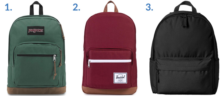 1. Jansport Right Pack ( Amazon )  2. Herschel Pop Quiz ( Amazon )  3. AmazonBasics Classic Backpack ( Amazon )
