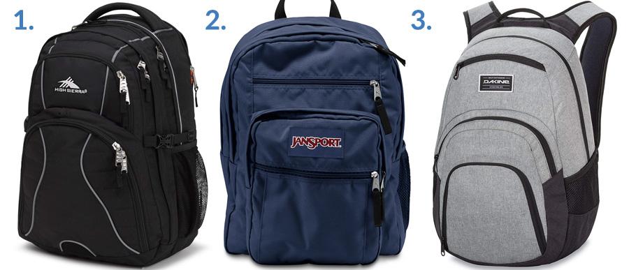 1. High Sierra Swerve ( Amazon )  2. Jansport Big Student ( Amazon )  3. Dakine Campus Backpack ( Amazon )