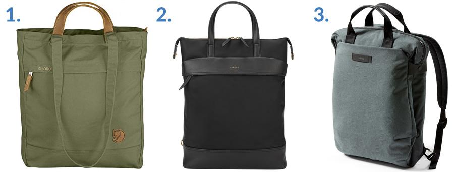 1. Fjallraven Totepack No. 1 ( Amazon )  2. Targus Newport Convertible 2-in-1 ( Targus )  3. Bellroy Duo Totepack ( Amazon )