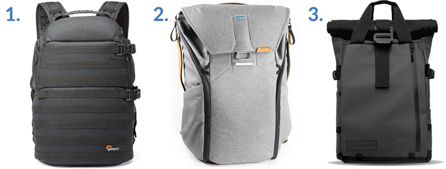 1. Lowepro ProTactic ( Amazon )  2. Peak Design Everyday Backpack ( Amazon )  3. WANDRD PRVKE ( WANDRD )