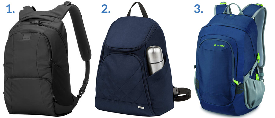 1. Pacsafe Matrosafe Laptop Backpack ( Amazon )  2. Travelon Classic Backpack ( Amazon )  3. Pacsafe Venturesafe GII ( Amazon )