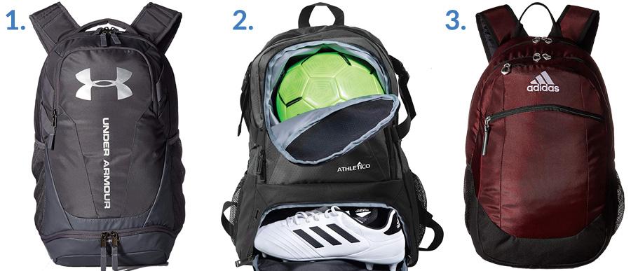 1. Under Armour UA Hustle Backpack ( Amazon )  2. Athletico National Soccer Bag ( Amazon )  3. Adidas Striker II Team Backpack ( Amazon )