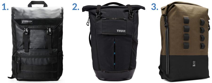 1. Timbuk2 Rogue Backpack ( Amazon )  2. Thule Paramount Pack ( Amazon )  3. Chrome Industries Urban EX ( Gallantry )
