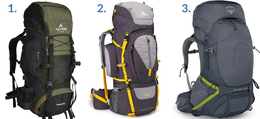 1. Teton Sports Scout 3400 Backpack ( Amazon )  2. High Sierra Appalachian 75 ( Amazon )  3. Osprey Atmos AG 65 ( Amazon )