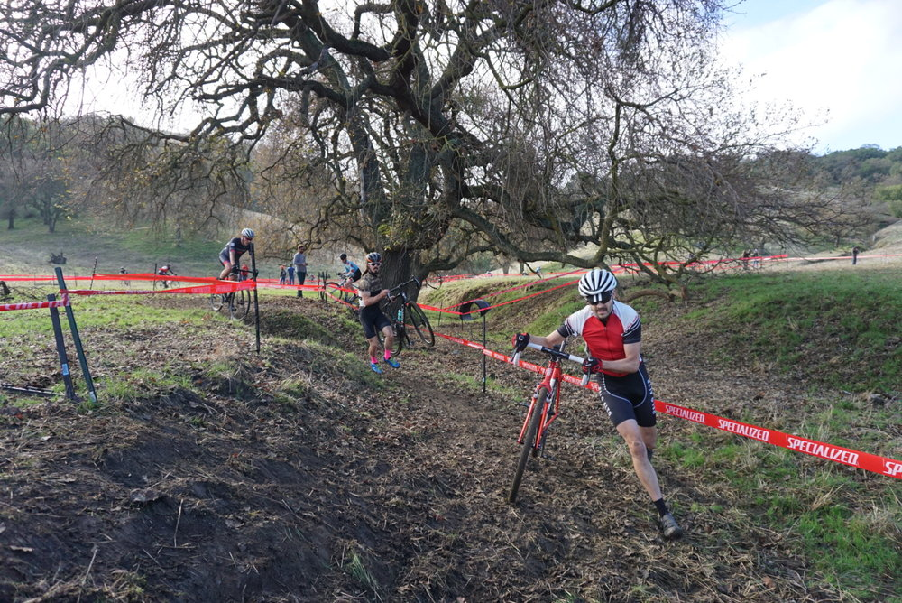 Conditions changed throughout race day, pictured here is a section that by 1pm became completely rideable.