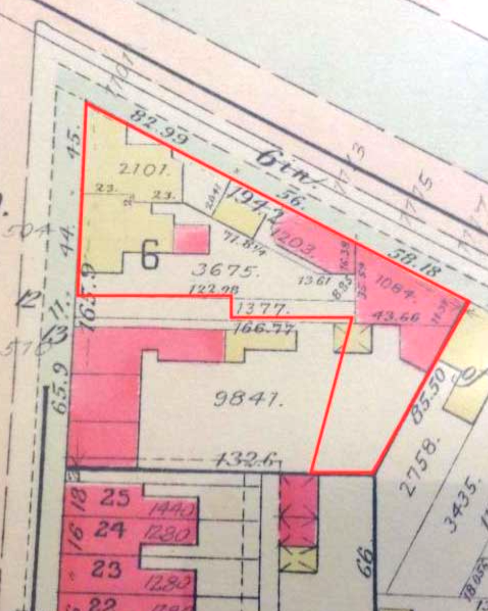 2.) 1903 Baist Map showing continued development of Square 994; the current footprint of Frager's Hardware property is highlighted in red. ( Baist Map, Volume 2, Plate 30,1903)