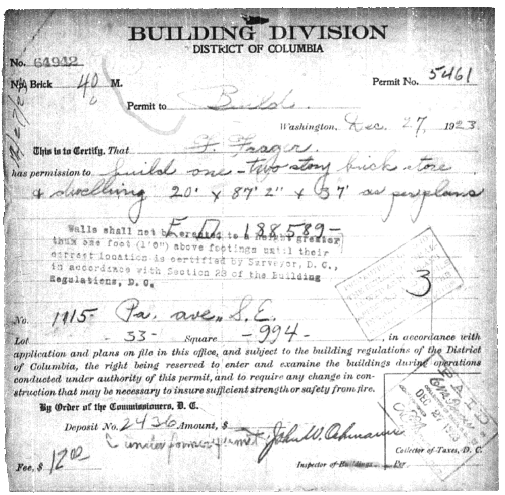 Frager's Hardware Building Permit