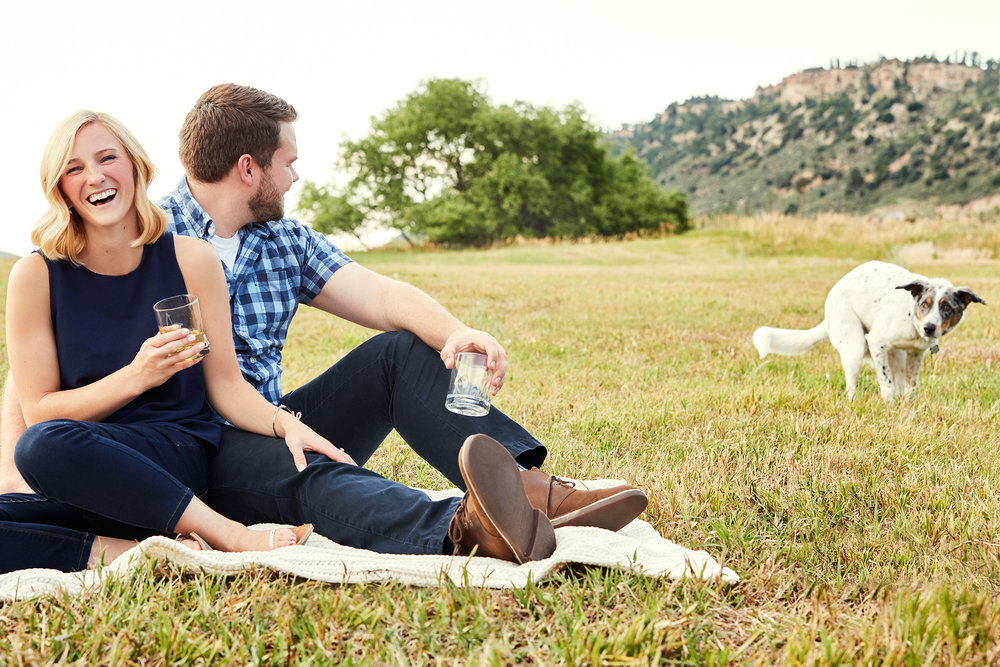 Theresa + Max's Picnic Engagement Photos   - CO Engagements // Dog Family // Bourbon // Banjos Candid Engagement Photography Blog Post