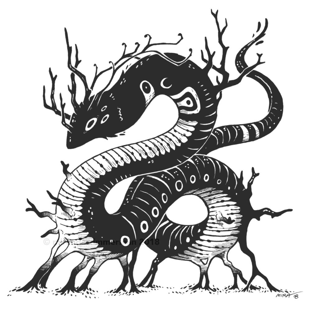 """""""Serpent""""  Pen + Ink , approx 6"""" x 6"""""""