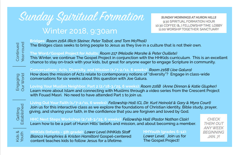 Winter 2018 Huron Hills Church Sunday Morning Spiritual Formation Classes.png