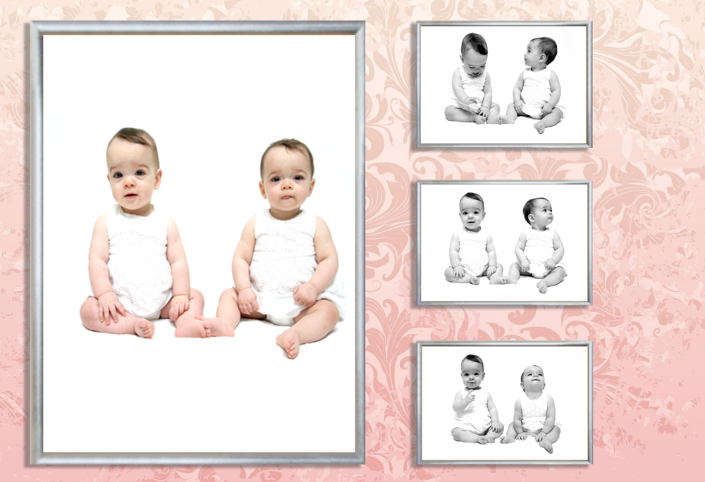 These twin girls were great and we used a mix of colour and black and white for their silver framed wall art package.