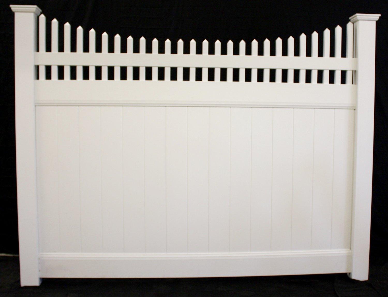 Buyvinylfence wholesale vinyl fence privacy scallop picket top vinyl fence panel baanklon Gallery