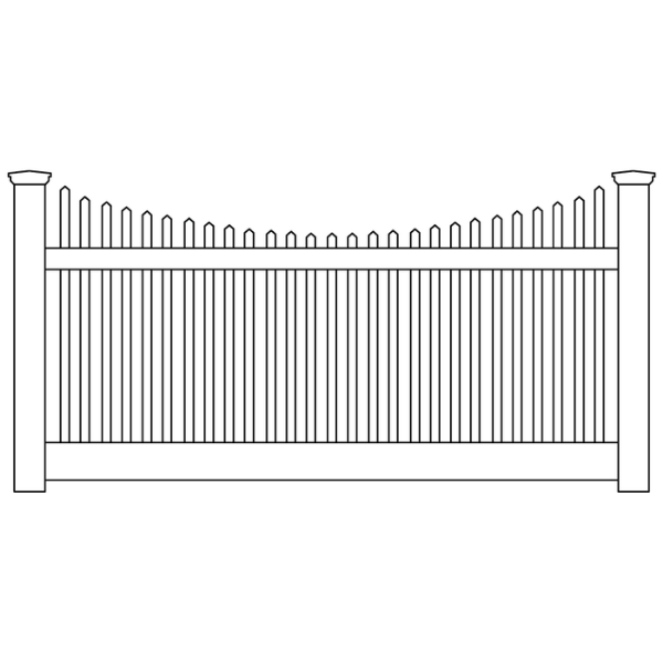 Privacy Scallop Picket Top Vinyl Fence Panel — BuyVinylFence com