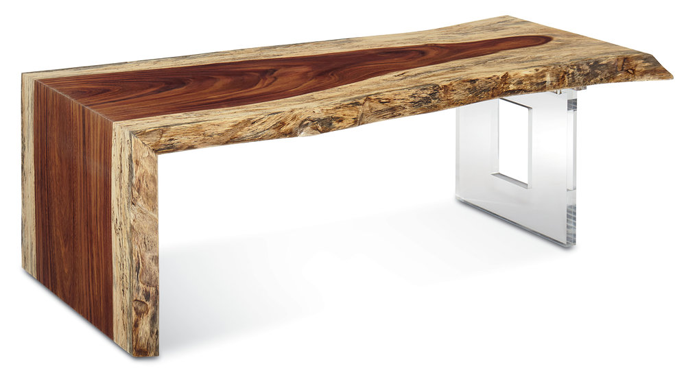LIVE EDGE WATERFALL COCKTAIL TABLE      The Fairfield Live Edge Collection:  The beauty found in nature is unsurpassed. It deepens with growth and with age and lasts for generations. From sustainable forests all over the world we search for trees at the end of their natural cycle making space for growth and life. We are allowing this elegance and beauty to surface in a unique way creating one of a kind tables. Our Live Edge wood slabs from the Guanacaste Tree offer an unparalleled depth and richness. The interlocking grain and deep, rich colors offer a ribbon of thick sap that varies from log to log.  No two pieces are ever the same.   These are the masterpieces of nature...
