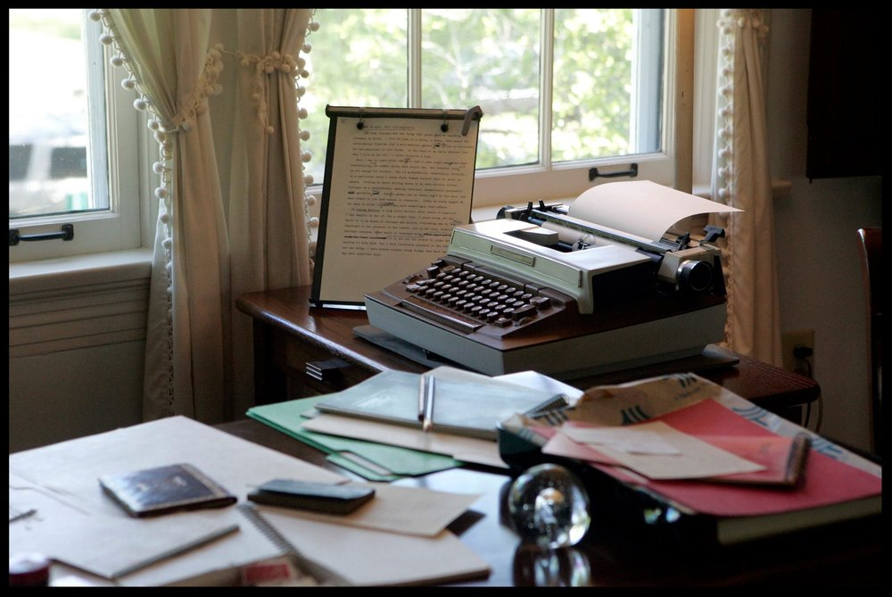 The typewriter used by Eudora Welty in her final years sits on the desk in the bedroom of her home in Jackson, Miss.  Credit Associated Press
