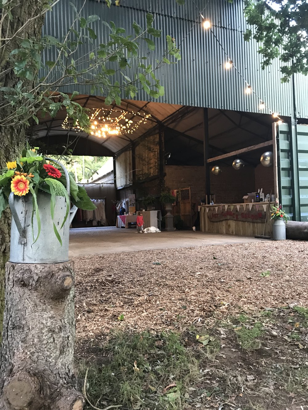 The Party Barn at Happy Valley was transformed over the last month. Those special added touches just finished it off nicely. Here we have Flowers from  Flowers on the Green .  Isla's Illuminations  launched Norfolks First suspended light display for the occasion.