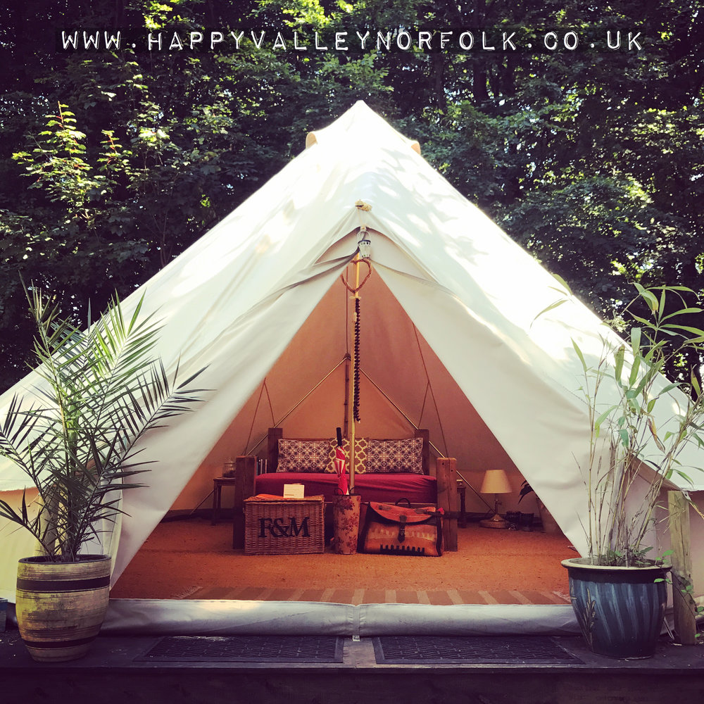 King Bell Tent - Sleeps 4 in a Kings Size bed and 2 childrens beds.