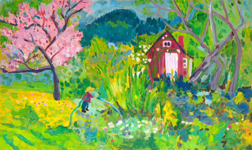 "Gardener's Blessing   Oil on Board 24"" x 40"" 2,900. (SOLD)"