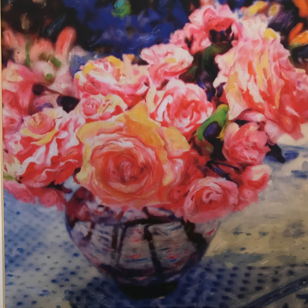 "Roses For Love 12""x12"" - Hand painted SX-70 photograph printed on watercolor paper. $700."