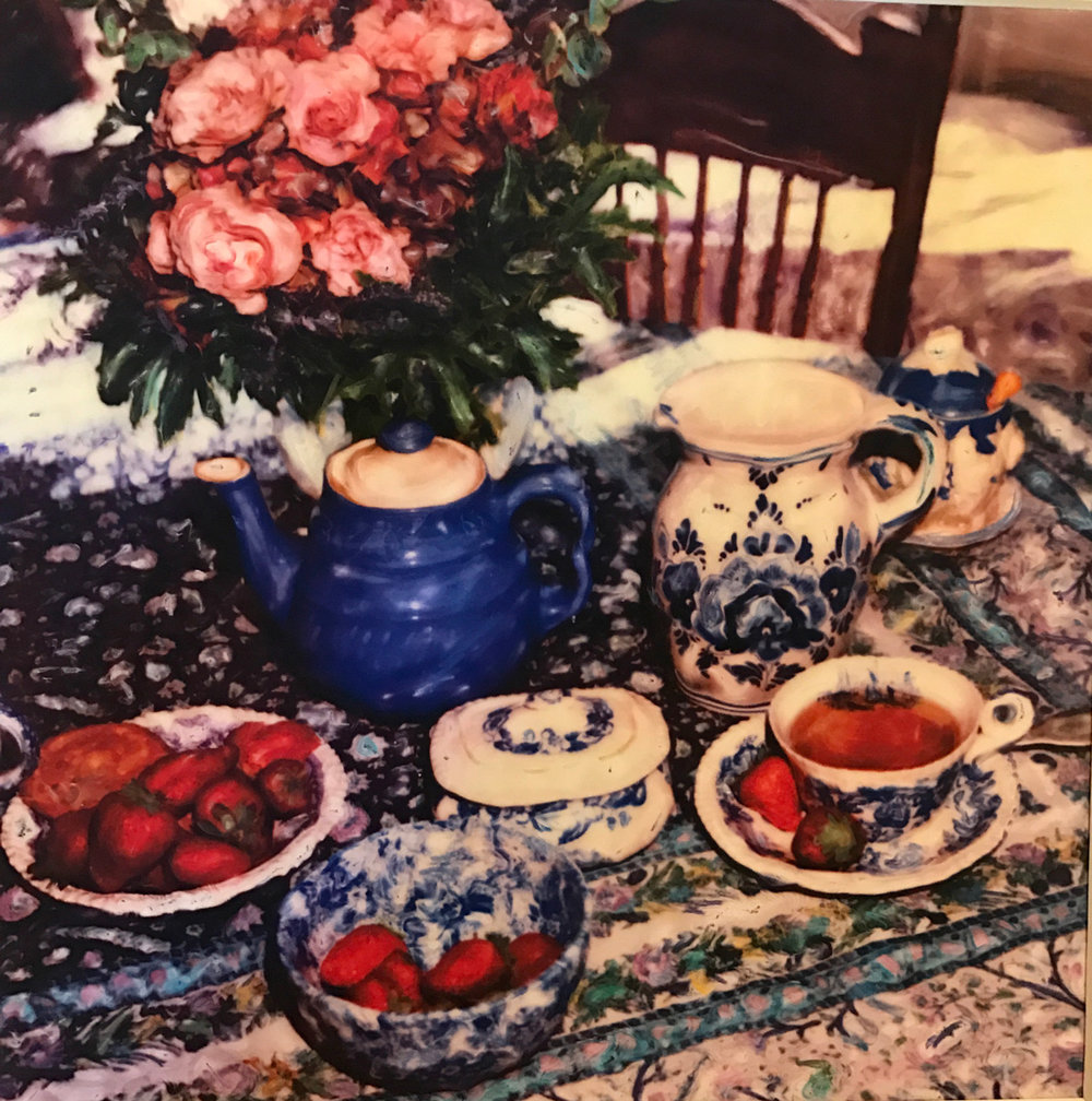 "Tea At Lizzie's 24""x24"" framed to 33""x33"" $2,000"