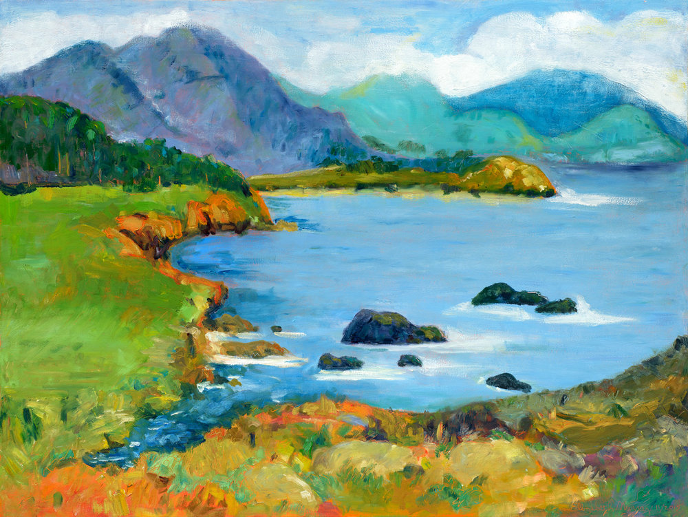 "Rocky Point, Big Sur  size 49""x37"" framed $2,800 (SOLD)"