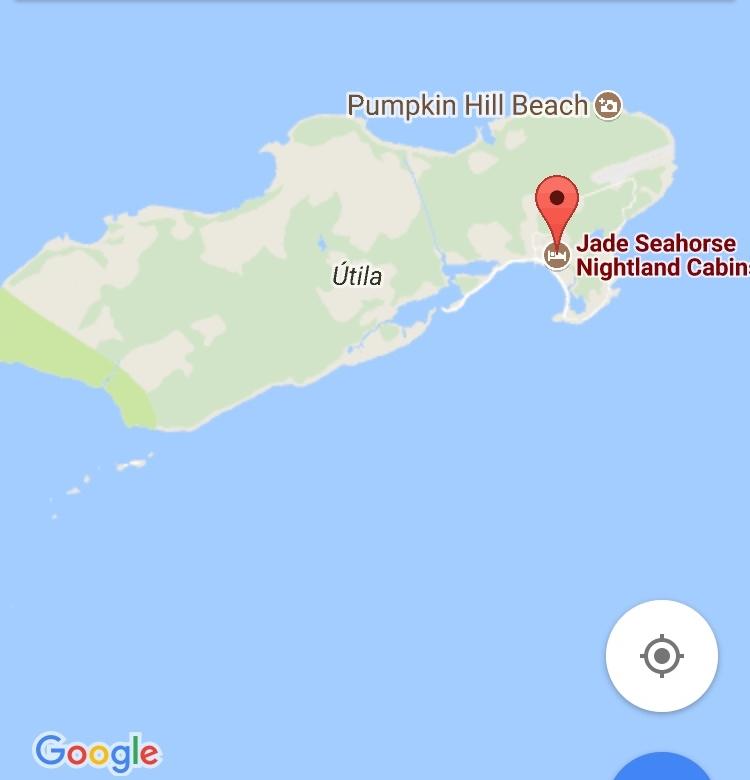 Localización de Jade Seahorse. Un hotel con hospedaje único en la isla de Utila.