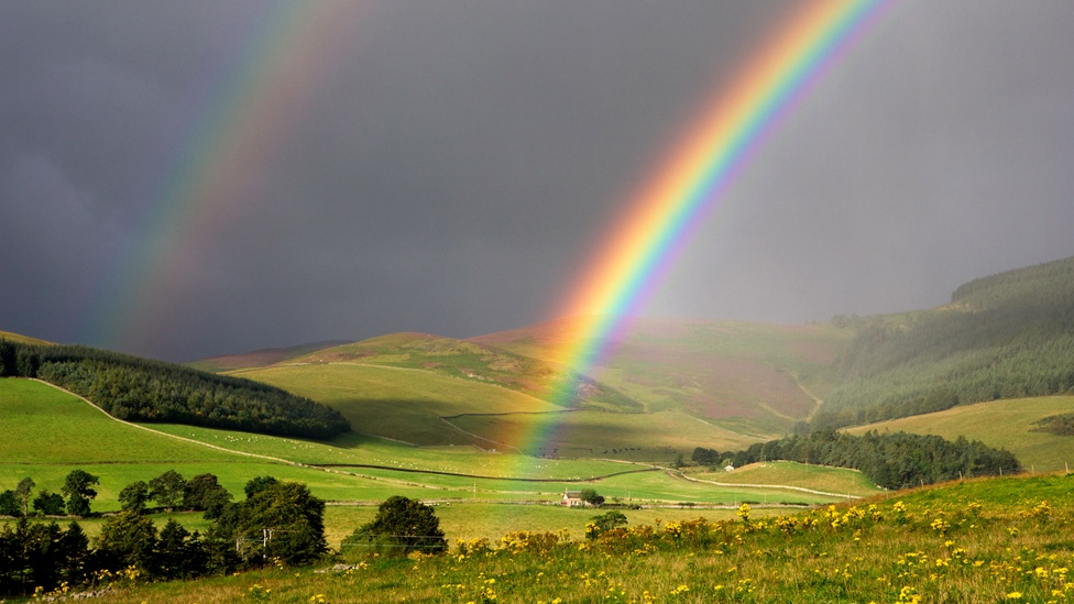 Double rainbow forming on the western outskirts of Innerleithen, Scottish Borders