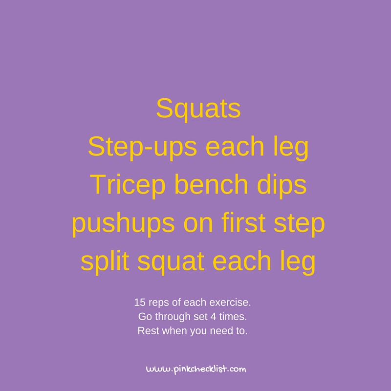 15 reps of each exercise.Go through set