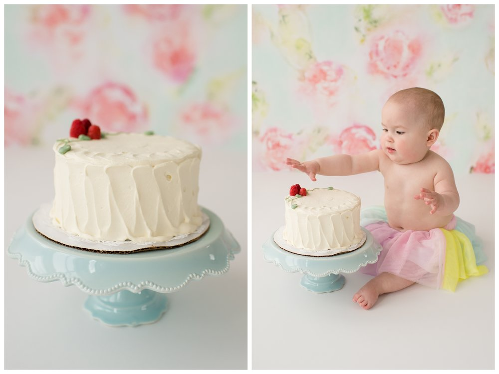 First birthday photography with Maine & NH baby photographer Sweet Light Portraits. i year old baby girl enjoys her cake smash photo session!