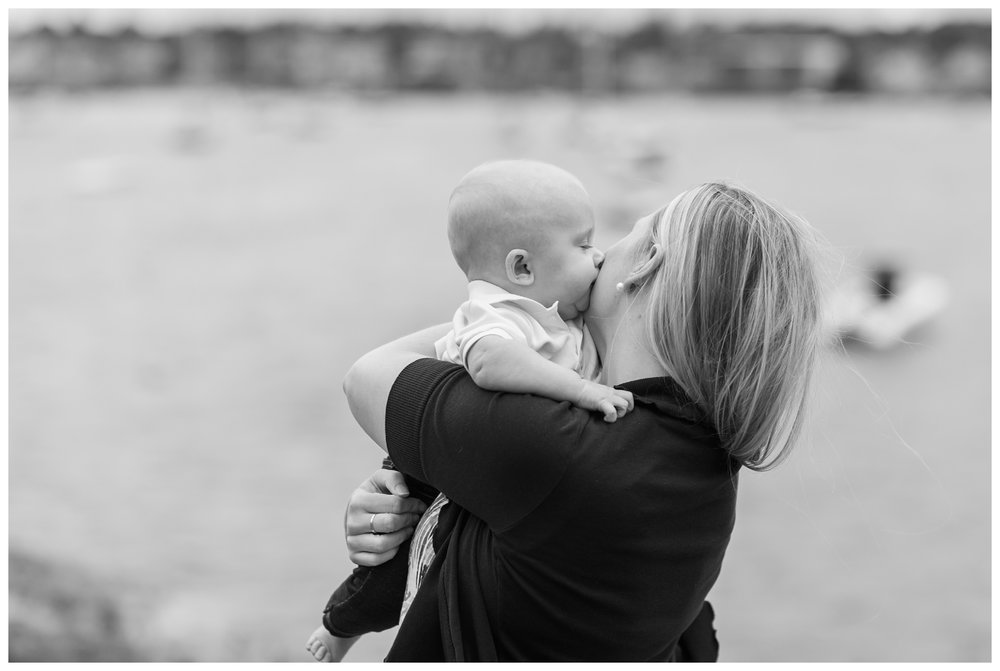 Family photography session in Marblehead Massachusetts with 6 month old little boy by Sweet Light Portraits.