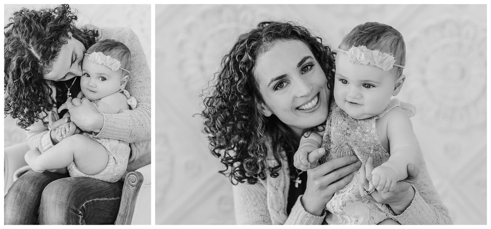 Maine Baby Photographer photographs 7 month old baby girl in Kittery Maine Studio at Sweet Light Portraits