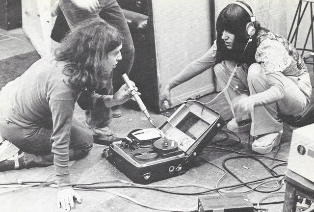 "Christine noschese and festival organizer, susan milano, testing 1/2"" video equipment at the 1976 Women's video festival.  photo: Ann Eugenia volkes"