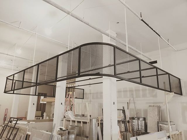 We suspended this large metal structure from the ceiling at @dogtownbrewing. The face will have signage and the additional cross members will support track lighting for behind the bar. Ceiling was 17 ft. 😉 . Designed with @campfireandco Thanks for the help @metalandwelding and @sketchup_official . . . #metal #metalwork #cad #sketchup #lasers #cnc #plasma #lincoln #miller #handmade #handcrafted #madeinamerica #interiordesign #modern #industrial #restaurant #brewery #makersmovement #rvamakers #wood #dogtown  #woodisgood