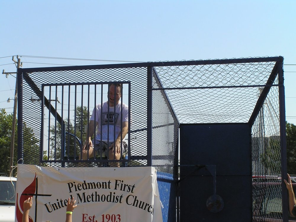 Here I am participating in a dunk tank for  Founder's Day in Piedmont in 2004. Sometimes we  can find joy even when we are cold and wet!