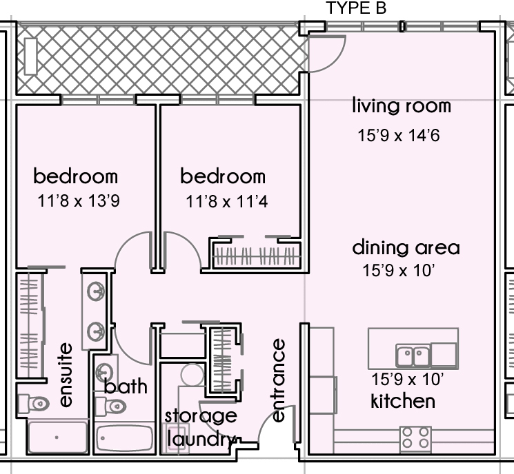 UNITS 202, 203, 204, 205 and 206    (2 BEDROOMS - 1173 SF)