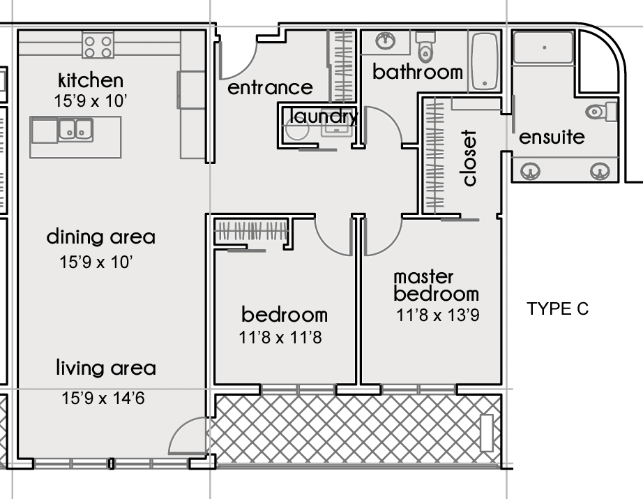 UNIT 207 (ACCESSIBLE )    (2 BEDROOMS - 1259 SF)