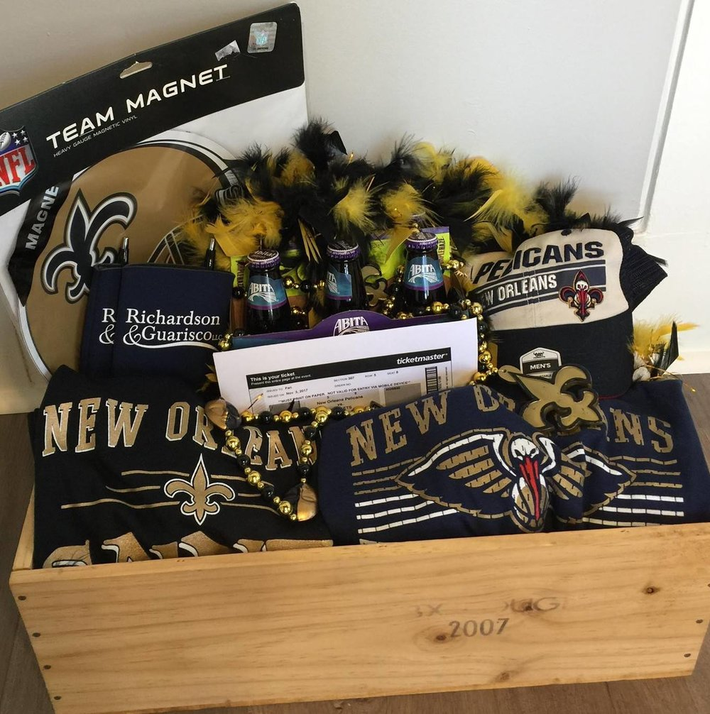 Richardson & Guarisco, LLC donated a Sports Basket to the 2018 Chamber of Commerce Banquet auction. Congratulations to the highest bidder for winning New Orleans Pelicans tickets and gear for our local Louisiana sports teams!