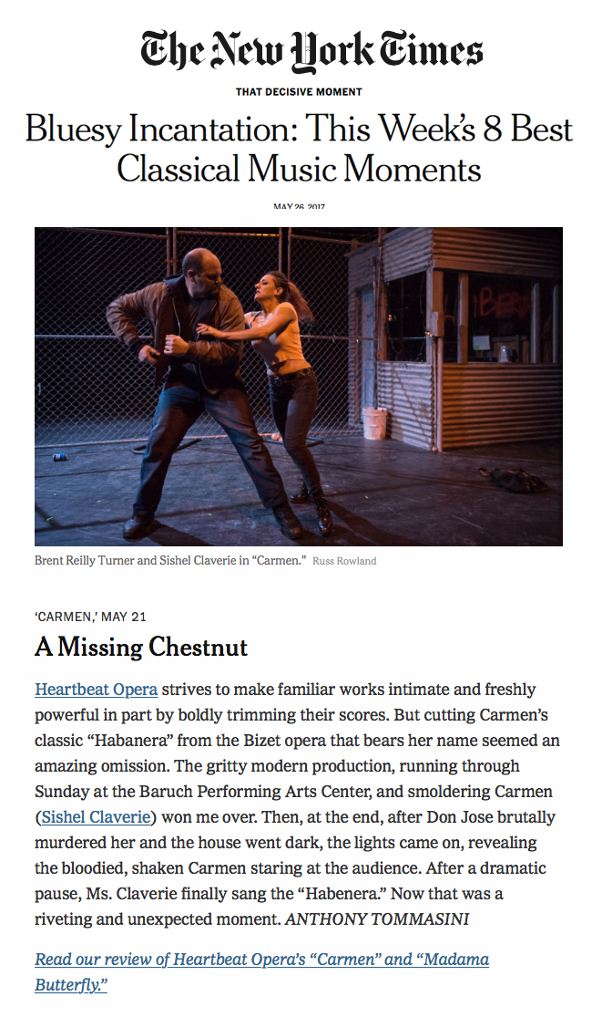 "Carmen featured in the New York Times ""8 Best Classical Music Moments of the Week"""