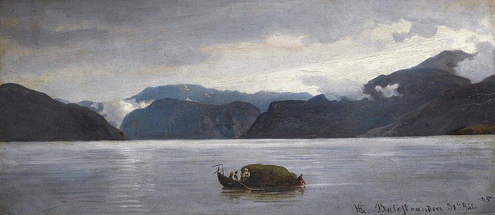 Utsikt fra Balestrand, maleri av Hans Gude fra 1845. Hans Gude og Hjalmar studerte sammen i Tyskland, men tilbragte en sommer sammen ved Sognefjorden. Under dette oppholdet ble Hjalmar Kjerulf syk. Han døde av lungetuberkulose våren 1847, bare tjuefem år gammel.